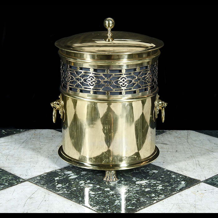 An antique Edwardian brass coal bucket