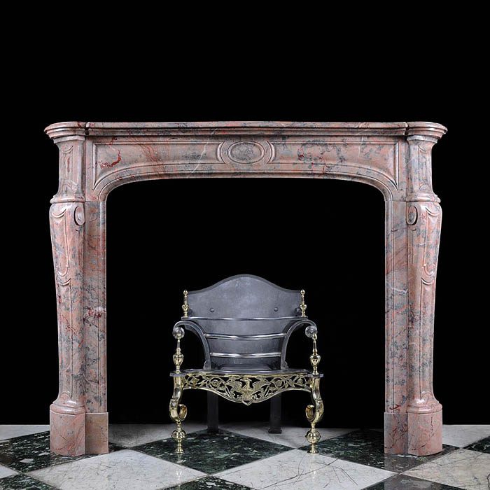 A Small French Pompadour style Antique Fireplace Surround