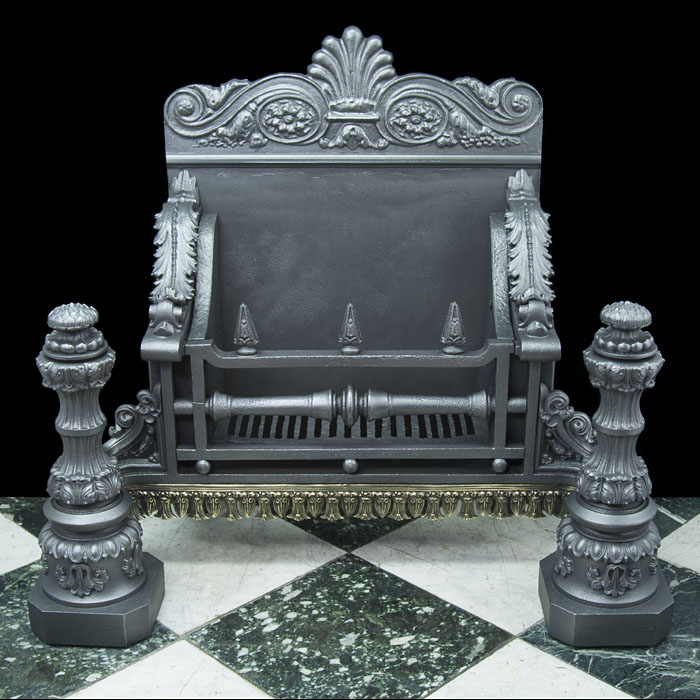 A very substantial cast iron Baroque style antique Fire Basket