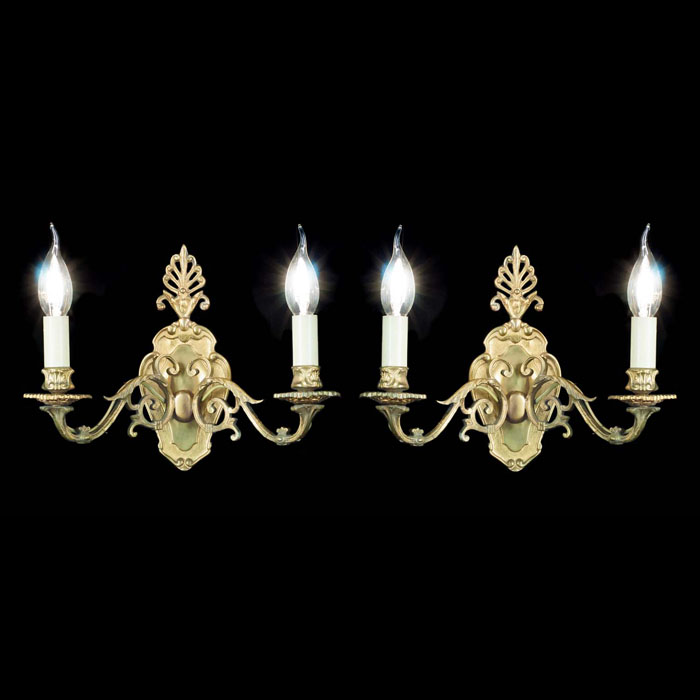 A Pair of Regency Style Brass Wall Lights