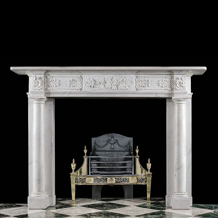 An Antique Regency Statuary Marble Chimneypiece Mantel