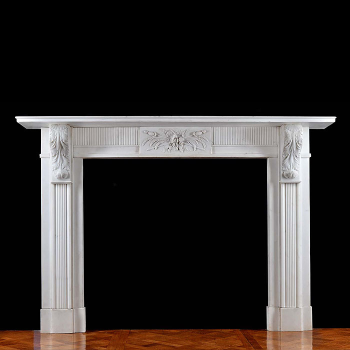 An Antique Irish Regency Greek Revival Marble Fireplace Surround