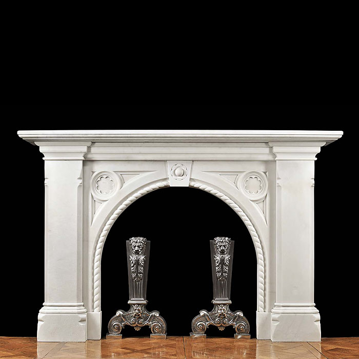 An Antique Bianco Pi marble Victorian Chimneypiece.