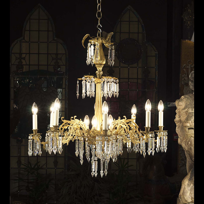 An Eight Light Antique Crystal Chandelier