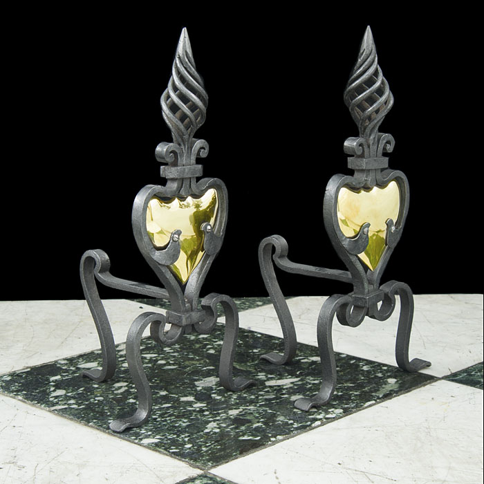 A pair of wrought iron Antique Art Nouveau style Fire Dogs