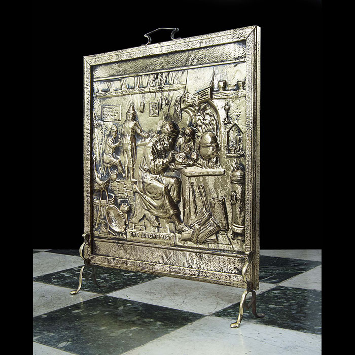 An Antique brass pictorial firescreen