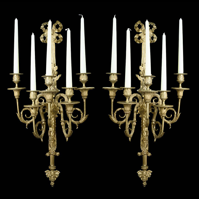 George III style pair of five branch Victorian wall lights