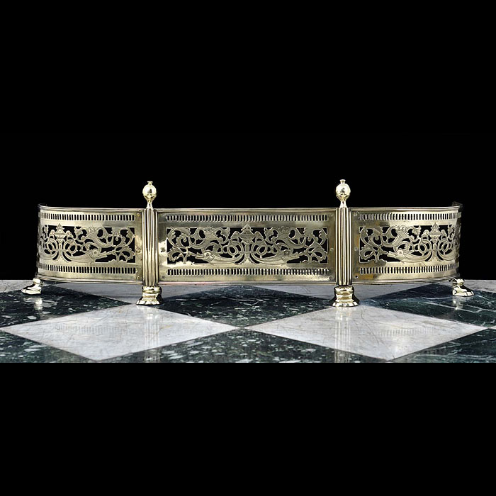 An English antique cast brass Regency Fireplace Fender