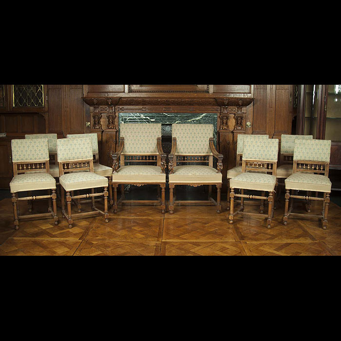 Edwardian set of ten walnut dining chairs