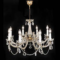 A 20th century moulded glass eight light chandelier.