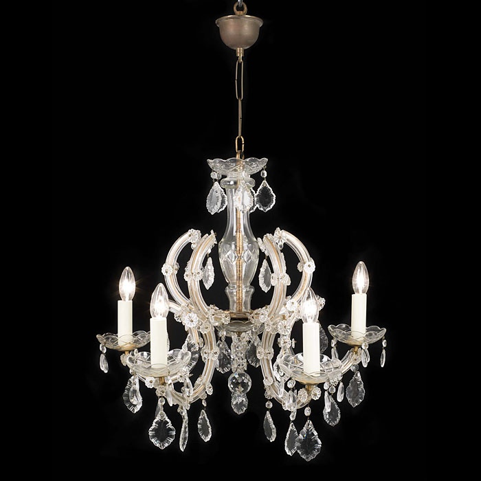 An early 20th century moulded glass chandelier