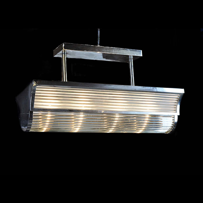 An Art Deco Chrome & Glass Ceiling Light