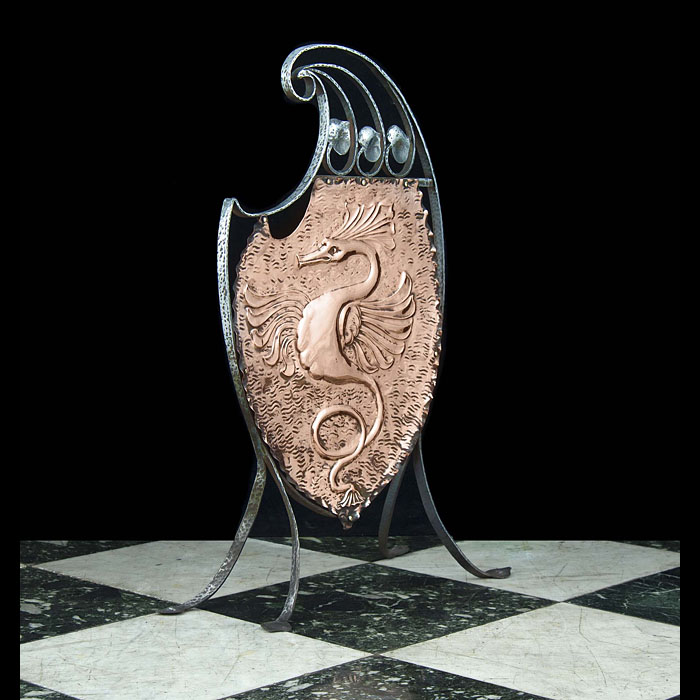 Copper and wrought iron Art Nouveau Fire Screen