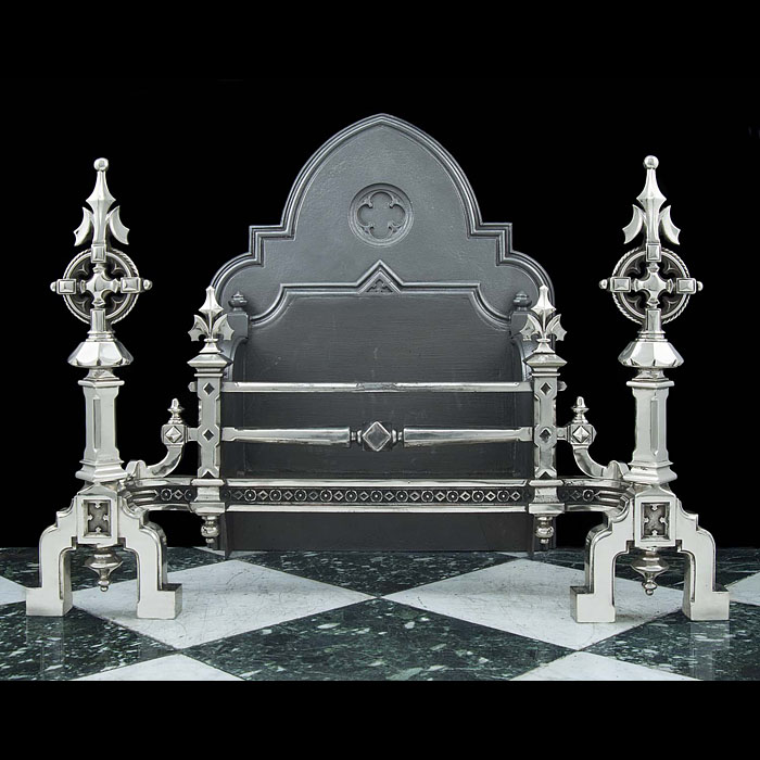 An enormous polished steel and cast iron antique Gothic Revival Fire Grate
