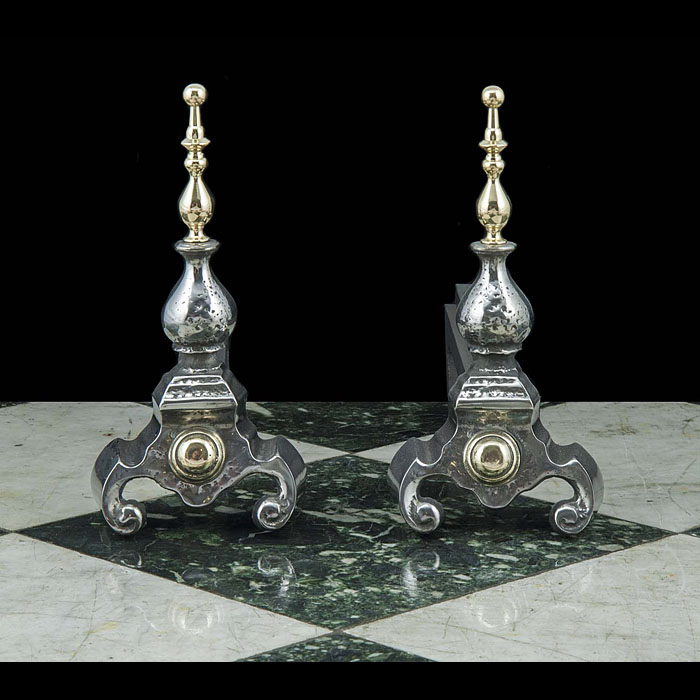 Poilshed Steel Baroque Style Andirons