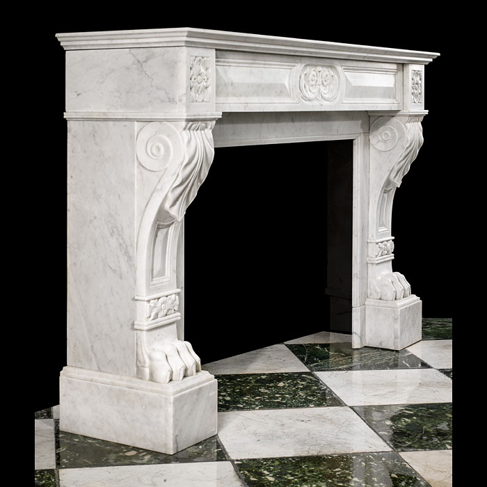 An Antique Louis XVI French Carrara Marble Fireplace Surround