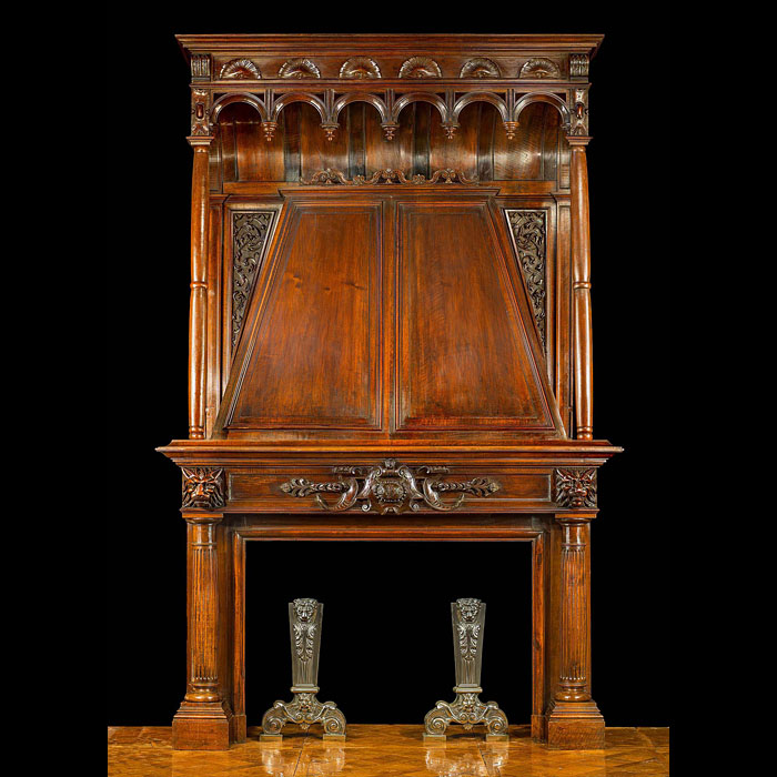 A Huge Dutch Walnut Trumeau Antique Chimneypiece Mantel