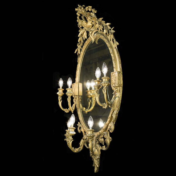 A French gilt wood large antique Girandole Mirror