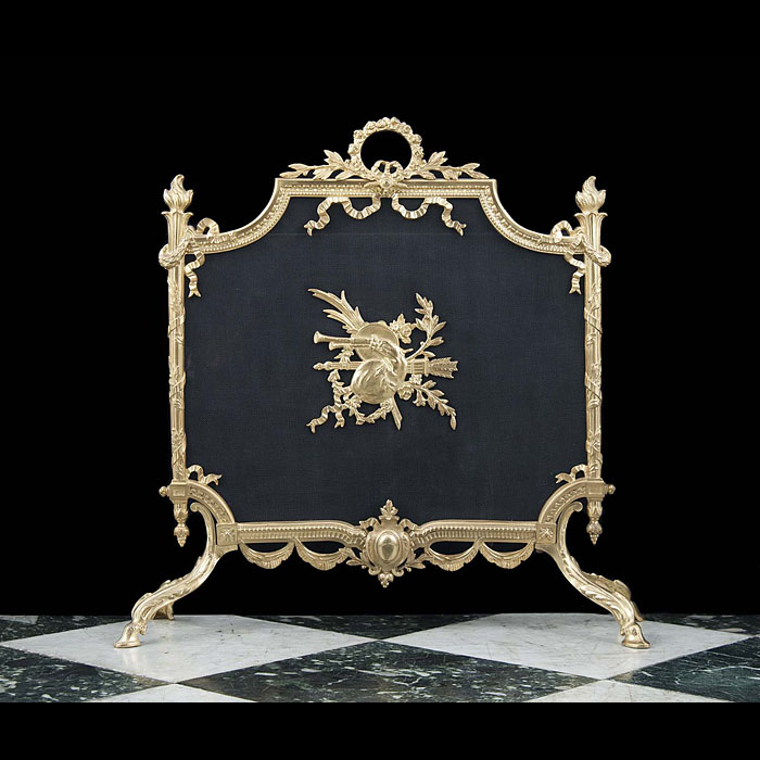 Bagpipes and trumpets Rococo Revival Fire Screen
