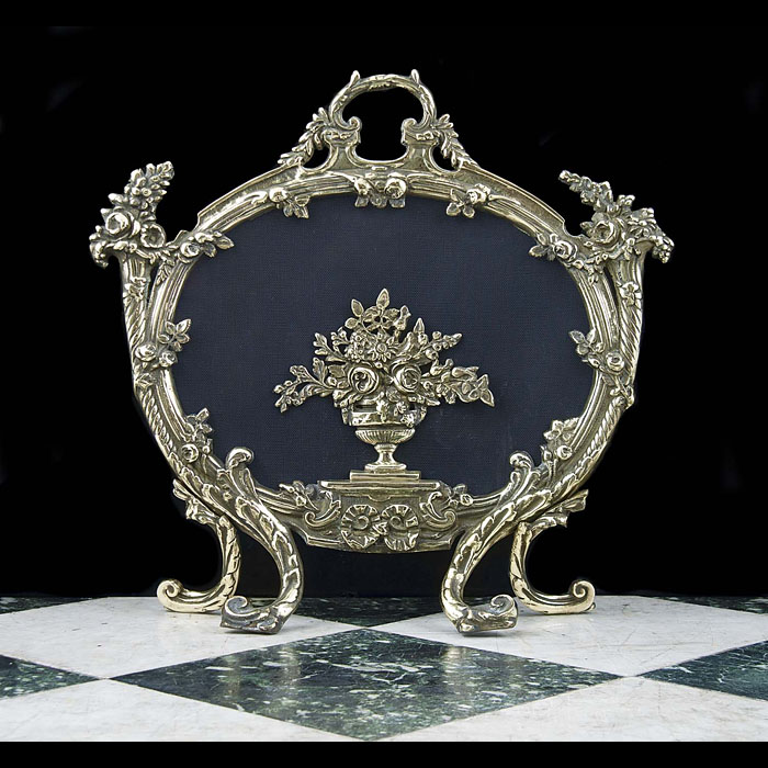 20th century Rococo style brass fire screen