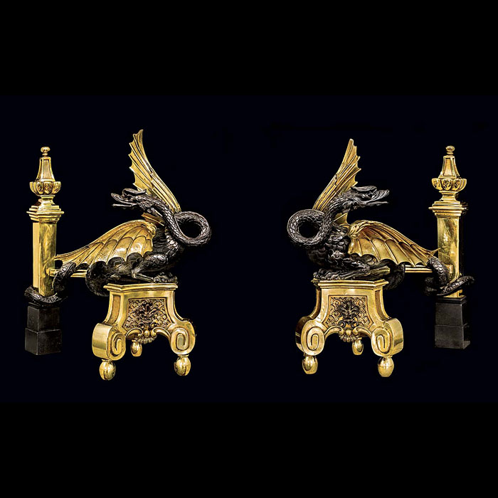 A Rare Pair of Antique Gilt and Bronze Wyvern Andirons