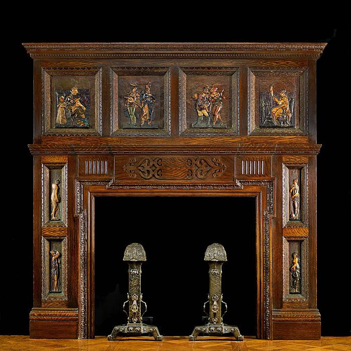 13196: A highly unusual Renaissance style carved and painted pine fire surroundand overmantel in the Elizabethan manner with eight simulated leather panels illustrating Medieval scenes.The four panels on the