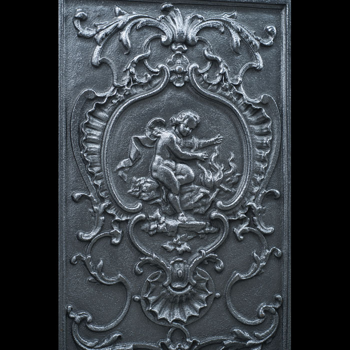 A pair of French antique cast iron backplate panels