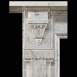 An Antique Old English Marble Reformed Gothic Fireplace Surround