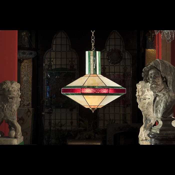 Set of four stained glass antique ceiling lights