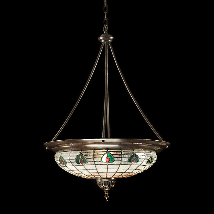 A 20th century Art Nouveau style stained glass ceiling light