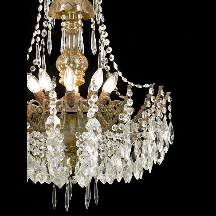 A 20th century large ten light glass Victorian style chandelier