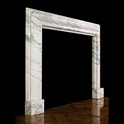 A large Antique Baroque style Bolection Carrara Marble Fireplace Surround