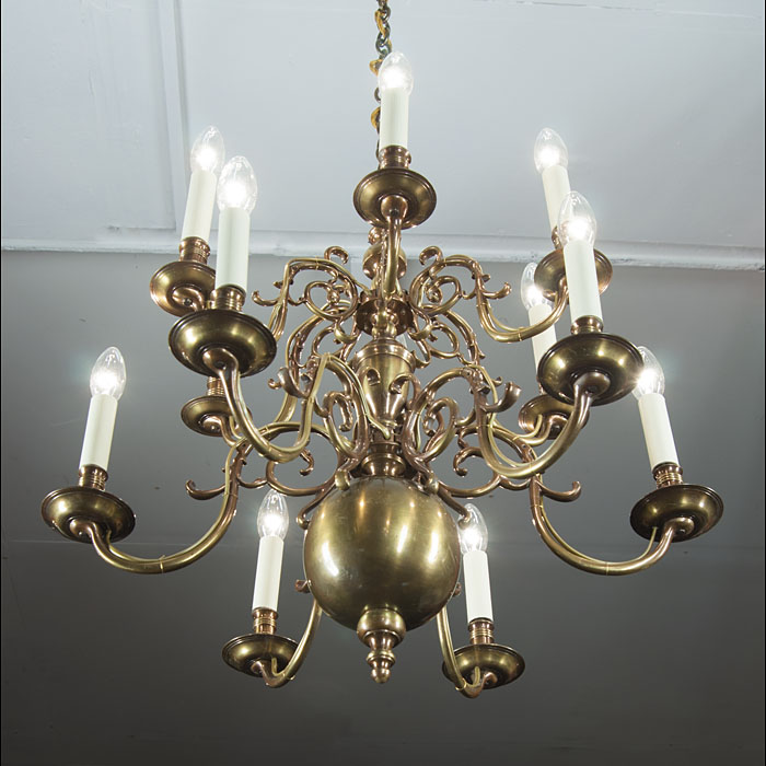 Early 20th century two tier Baroque style brass chandelier