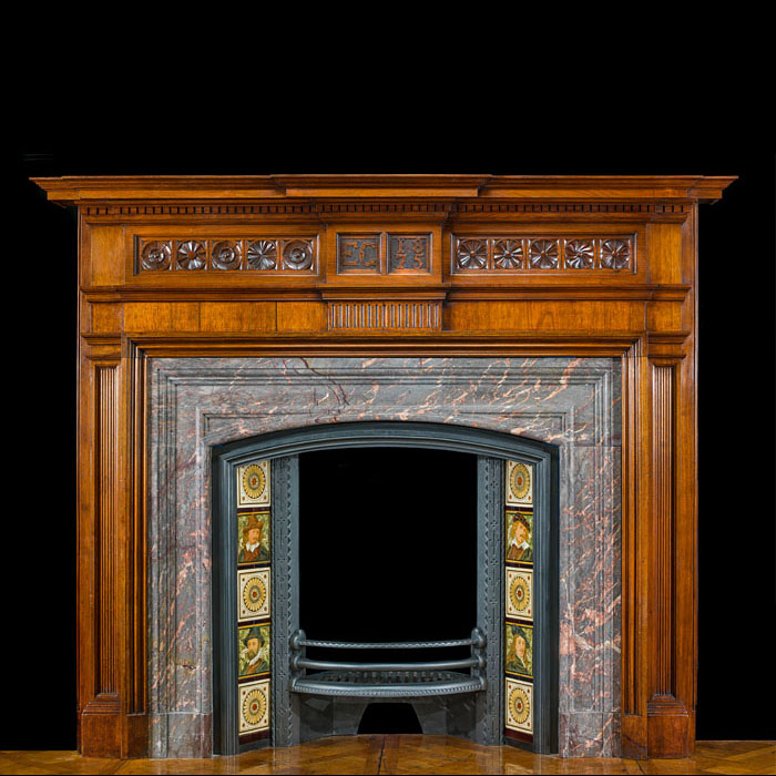 An Aesthetic Movement Walnut Fire Surround