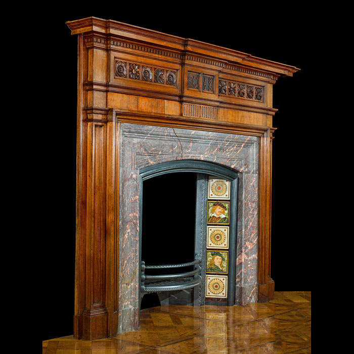 An Interesting Aesthetic Movement Antique Walnut Fireplace Surround