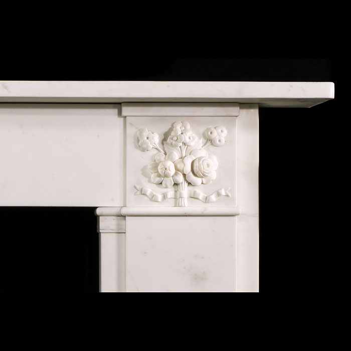 An antique white marble Victorian chimneypiece mantel