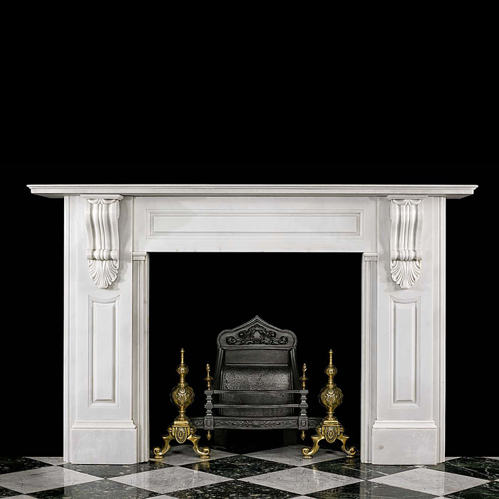 A large Antique Bianco Pi marble Fireplace Surround.