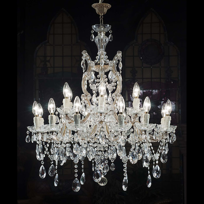 A fine pair of large 20th century cut glass chandeliers