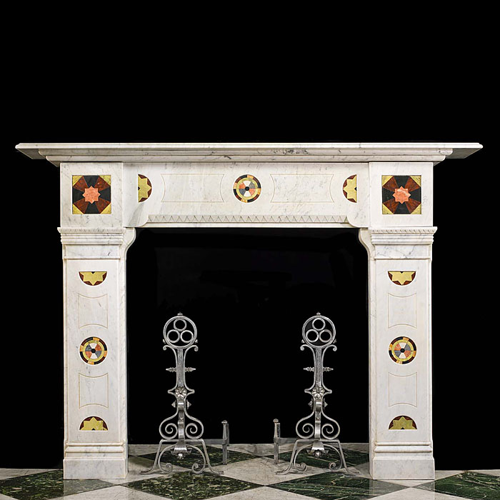 An Antique Arts & Crafts Specimen Marble Chimneypiece Mantel