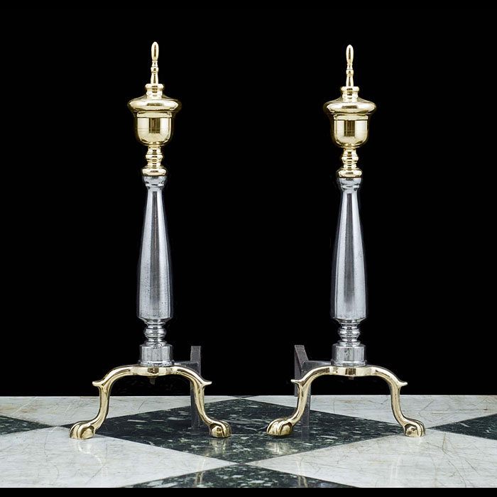 A Pair of Regency style Victorian Brass and Steel Andirons