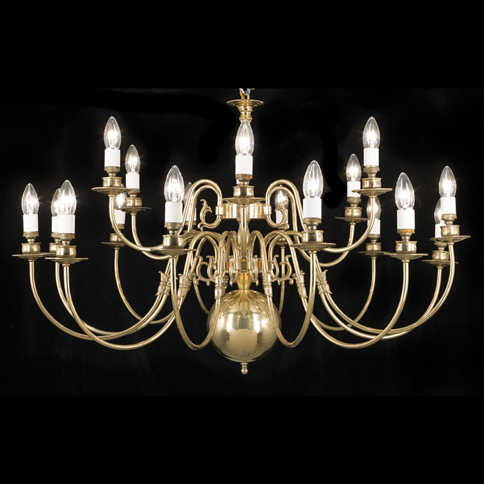 A 20th century large 18 branch brass chandelier