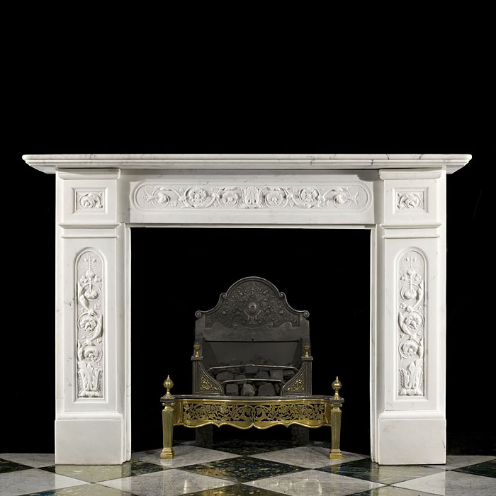 A Fine Victorian Statuary Marble Fireplace