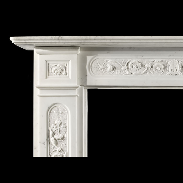 A Fine Antique Statuary Marble Chimneypiece Mantel