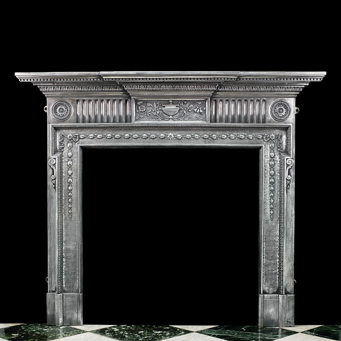 A Georgian Style Cast Iron Fireplace Mantel