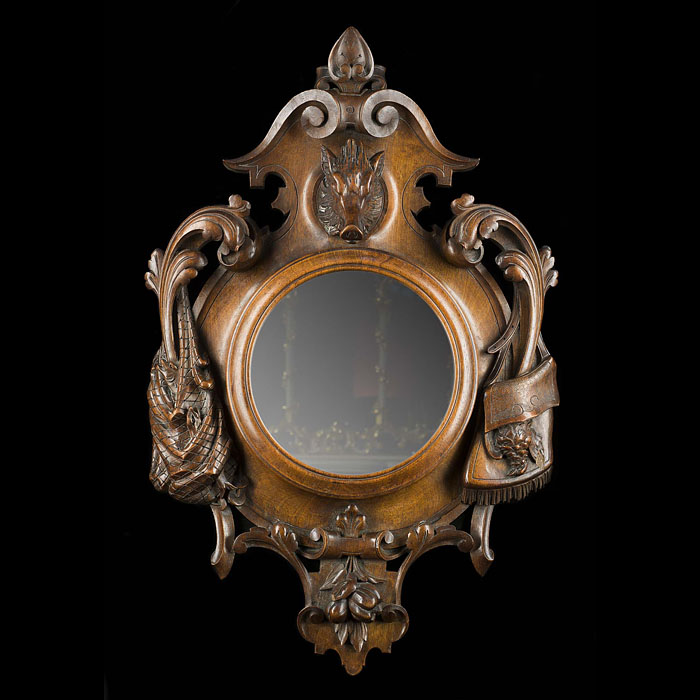 A Cartouche Shaped Mahogany Wall Mirror