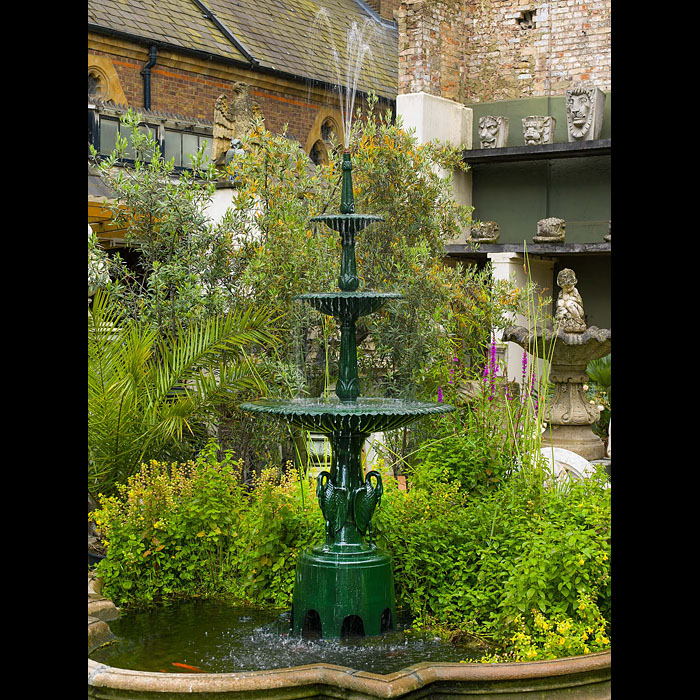 A 20th century three tier cast iron Swan Fountain