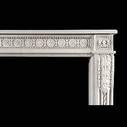 A finely carved Louis XVI Antique statuary marble chimneypiece