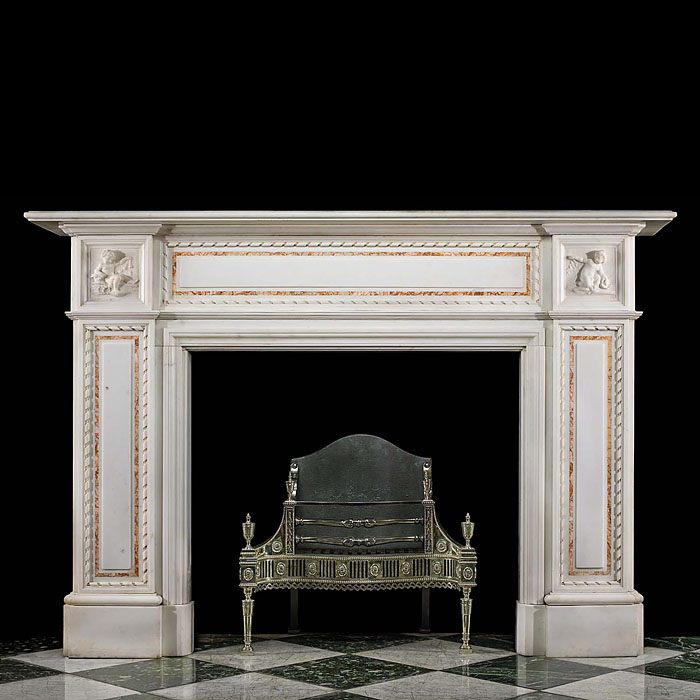 An Antique Statuary Marble Victorian Fireplace Surround