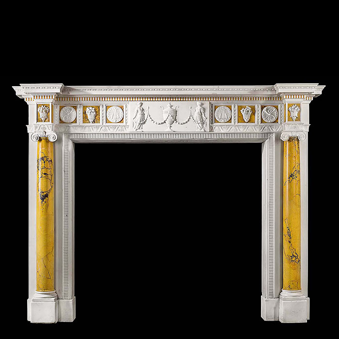 An exquisite 18th century style statuary and sienna antique  marble fireplace