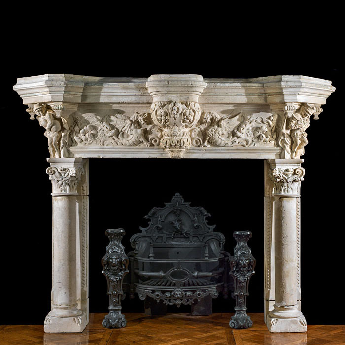 A large Renaissance style antique Fireplace Surround